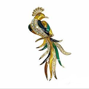 Peacock brooch large colorful enamel rhinestones